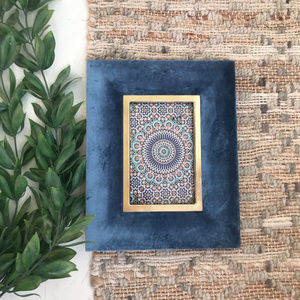 Opalhouse Velour Blue Gold Picture Frame
